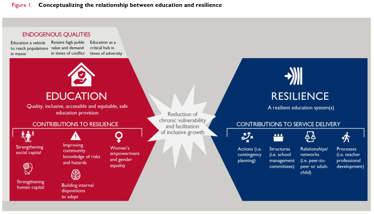 Conceptualizing the relationship between education and resilience infographic